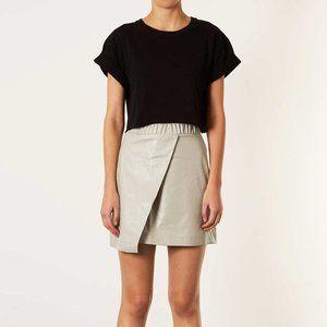 Topshop | Faux Leather Bone Wrap Skirt
